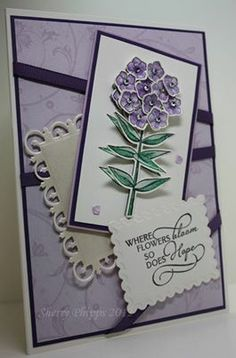 Beautiful card by Sherry with the Memory Box 2014 exclusive Phlox stamp/dies set from Simple Pleasures. Love the 3d flowers and the tiny single petals - very delicate!