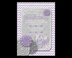 Printable Baby Shower Girl Chevron Peoni Flowers Purple Gray Party Invitation Print DIY Digital File Print Yourself Custom Personalized on Etsy, $14.99
