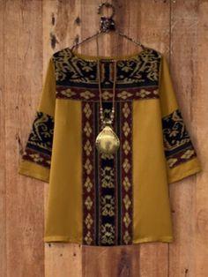 Ideas For Fashion Style Bohemian Kimonos Batik Fashion, Hijab Fashion, Fashion Outfits, Emo Outfits, Blouse Batik, Batik Dress, Bohemian Kimono, Iranian Women Fashion, Designs For Dresses