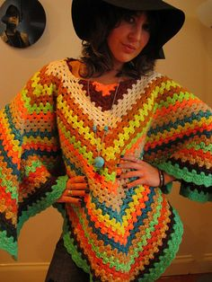 Pure Wool Crochet Poncho Bright Multi colour by TheSuperMarket3000