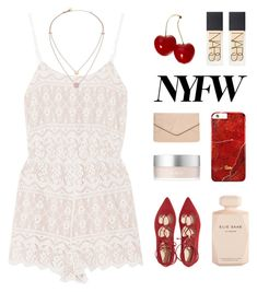 """Cherry Bomb { desc. }"" by alexis-belaruano ❤ liked on Polyvore featuring Alice + Olivia, RMK, Elie Saab, Dorothy Perkins, NARS Cosmetics, Michael Kors, NYFW and laceup"