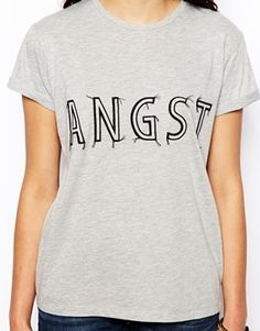 Image 3 ofASOS Boyfriend T-Shirt with Angst Embroidered Print