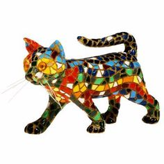 """Barcino Mosaic Walking Cat Figurine. """"This is a piece of innovative design inspired by the mosaic technique Trencadis. Hand painted with more than 10 colours"""" / Puss 'n' Pooch Gallery"""