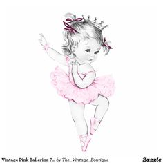 Vintage Pink Ballerina Princess Baby Girl Shower Standing Photo Sculpture