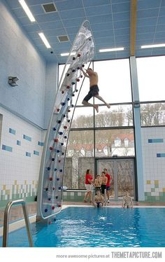 Awesome Poolside Climbing Wall...I want one
