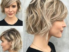 38 Short Layered Bob Haircuts with Side Swept Bangs That Make You layered bob hairstyles - Bob Hairstyles Short Hair Lengths, Short Hair With Bangs, Curly Hair Cuts, Short Hair Cuts For Women, Curly Hair Styles, Short Wavy, Short Blonde, Short Cuts, Wavy Hair
