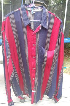 Vintage 80s 90s Marithe & Francois Girbaud Striped Long Sleeve Mens Dress Shirt Size Medium by MaidenhairVintage, $28.00