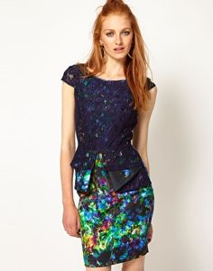 Enlarge River Island Floral Peplum Dress With Lace Overlay