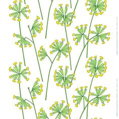 Marimekko Kevätesikko Fabric Kevätesikko is Finnish for the Cowslip, or spring blooming primrose. Erja Hirvi's 2011 print is a delicate and simplistic take on the blooming Kevätesikko of Finland. Printed on cotton, the Marime. Textiles, Textile Patterns, Textile Design, Fabric Design, Pattern Design, Floral Patterns, Print Design, Illustrations, Graphic Illustration