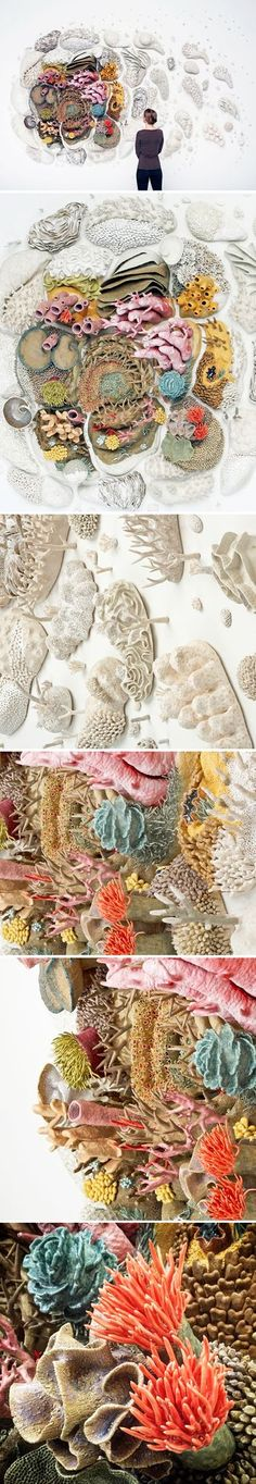 """Oh my. Beautiful and sad all in one glance. This is a glazed stoneware and porcelain installation by American artist/ocean advocate Courtney Mattison, titled """"Our Changing Seas III"""". Here are her eloq"""