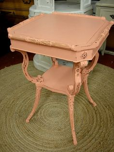 Reclaimed Vintage Coral Painted Shabby Chic Cottage Ornate Chippy Accent Side Table (SHIPS FED EX). $199.00, via Etsy.