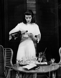 Katharine Hepburn in The Philadelphia Story  /  Katharine Hepburn starred in the Broadway production of the play on which this film was based and owned the film rights to the material; they were purchased for her by billionaire Howard Hughes, then given to her as a gift.