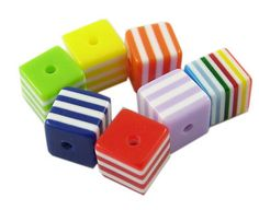 50 pc 8mm Colorful Cube Resin Stripe Beads  Mixed by DeeCreative1, $2.99