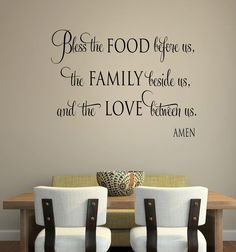 Kitchen Wall Decor Pictures bless the food before us wall decal, kitchen wall art, dining room