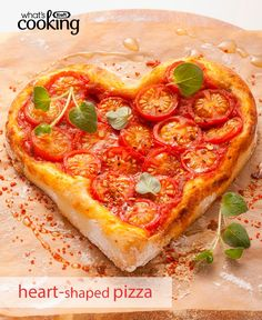 This Valentine's Day, express your love with this homemade, fresh-from-the-oven pizza. Click or tap photo for this Heart-Shaped Cheese and Tomato Pizza #recipe.