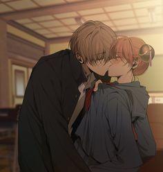 Anime Couples Drawings, Anime Couples Manga, Chica Anime Manga, Kawaii Anime, Photo Couple Amoureux, Gintama, Cute Anime Coupes, Okikagu, Anime Love Couple