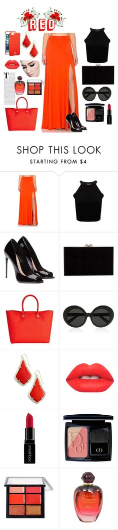 """""""•Red•"""" by srtayeah ❤ liked on Polyvore featuring Rachel Pally, Charlotte Olympia, Victoria Beckham, Linda Farrow, Kendra Scott, Lime Crime, Smashbox, Christian Dior, MAC Cosmetics and Tory Burch"""