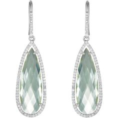 Green Quartz and Diamond Halo-Style Earrings in Sterling Silver