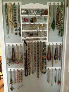 Cool jewelry displays hanging necklaces necklace display and display jewelry wall the flower city fashionista obscenity i might actually wear my jewelry diy necklace holder solutioingenieria Images