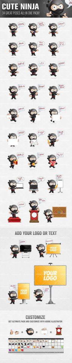 Cute Ninja Cartoon Character Set Preview Big