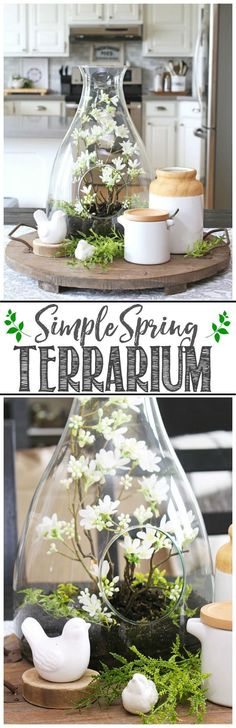 Pretty spring terrarium. This would be so easy to do! 10 minute spring decorating ideas.
