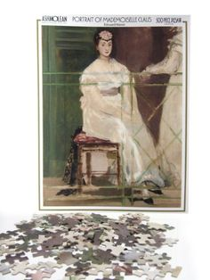 500 piece jigsaw featuring Manet's Portrait of Mademoiselle Claus. Finished size 50x38 cm. Made in England. Ashmolean Museum Shop.