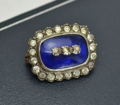 Early Victorian (or Georgian?) TINY Blue Glass & White Paste LACE PIN Brooch