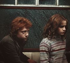 Ron and Hermione on board the Hogwarts Express