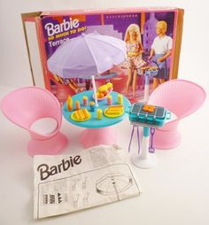 Barbie So Much to do Terrace 1995 Patio Table Chairs Grill Utensils Complete Set | eBay