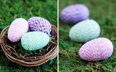 Baker's twine wooden eggs | 40 Creative Easter Eggs