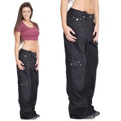 Black Baggy Cargo Trousers Wide Boyfriend Goth Emo Combat Jeans - Purple Stitch in Clothes, Shoes & Accessories, Women's Clothing, Trousers | eBay