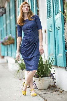 Greta Dress Blue from the Spring Collection by Shabby Apple Modest Clothing, Modest Dresses, Modest Outfits, Modest Fashion, Sheath Dresses, Dresses For Teens, Trendy Dresses, Cute Dresses, Casual Dresses