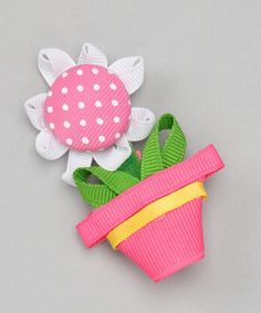 Very cute and original Take a look at this Pink Flower Pot Clip by Picture Perfect Hair Bows on today! Ribbon Hair Clips, Ribbon Art, Ribbon Crafts, Ribbon Bows, Ribbons, Barrette, Ribbon Sculpture, Girls Hair Accessories, Cute Bows