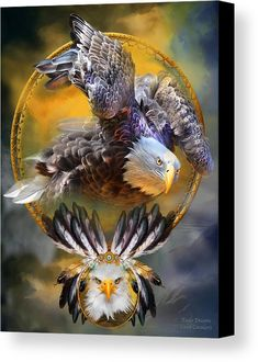 Eagle Dreams Canvas Print by Carol Cavalaris. All canvas prints are professionally printed, assembled, and shipped within 3 - 4 business days and delivered ready-to-hang on your wall. Choose from multiple print sizes, border colors, and canvas materials. Dream Catcher Art, Eagle Art, Canvas Art, Canvas Prints, Canvas Material, Home Art, Fine Art America, Framed Prints, Artists