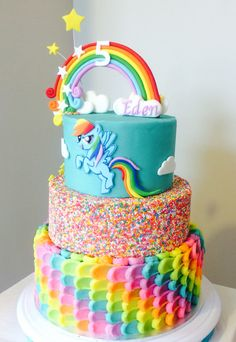 Rainbow Dash Cake. Buttercream