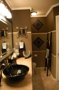 Lovely Brown and Gold Bathroom Decor