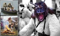 The Busójárás festival in Hungary is an event held to scare off winter and pay homage to the Battle of Mohács. Participants take to the streets donning outfits of horned monsters and woollen cloaks.