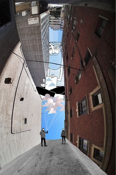 French photographer and illustrator Thomas Lamadieu takes pictures of the sky in courtyards and built up areas to create a natural frame for his pictures. He then fills in the sky area with illustrations.