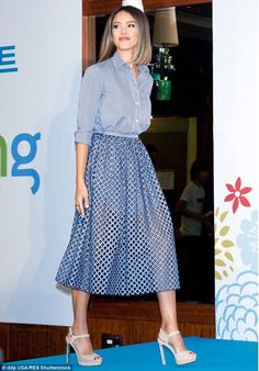 41172f9942a2 Jessica Alba in Michael Kors - At the launch of the Honest Company in Seoul