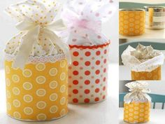 Latas recicladas para embalagens de presente,... https://www.facebook.com/pages/Chiquinha-Artesanato/345067182280566