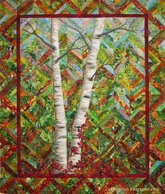 Cathy Geier's Quilty Art Blog: Birches and Virginia Creeper
