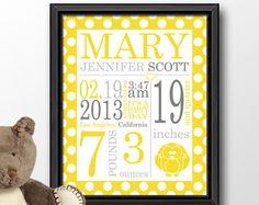 custom baby shower gift, baby name nursery art polka dot, nursery typography, baby birth stats, birth date print, baby name sign, baby stats