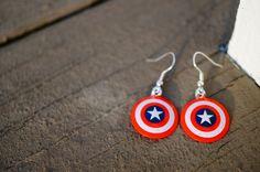 Captain America Dangle Earrings | Made from Capt. America Shields | Super Cute!
