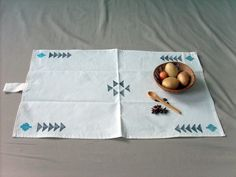 Turquoise & Gray Tribal Kitchen Towel FREE-Shipping by Yaansoon