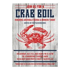 Personalized Vintage Crab Boil Party Invitations #beachparty #invitations