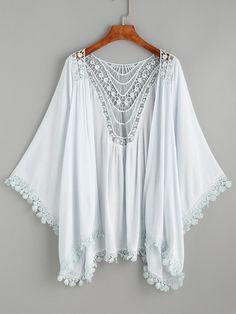 Blue Lace Trimmed Crochet Insert Kimono