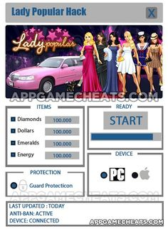 Lady Popular Hack & Cheats for Diamonds, Dollars, Emeralds, & Energy  #LadyPopular #Popular #Shopping #Simulation http://appgamecheats.com/lady-popular-hack-cheats/
