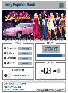 Lady Popular Hack & Cheats for Diamonds, Dollars, Emeralds, & Energy  #LadyPopular #Popular #Shopping #Simulation http://appgamecheats.com/lady-popular-hack-cheats/
