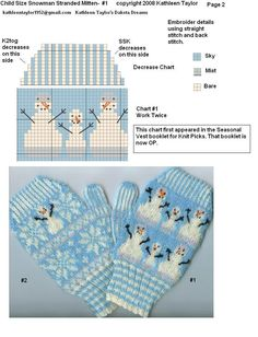 Kathleen Taylors Dakota Dreams: Freebie Friday- Part Stranded Snow Mittens Child Size Knitted Mittens Pattern, Fair Isle Knitting Patterns, Crochet Mittens, Knitting Charts, Knitted Gloves, Loom Knitting, Knitting Stitches, Knitting For Kids, Knitting Projects