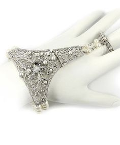 This Silver & Pearl Filigree Ring Bracelet is perfect! #zulilyfinds